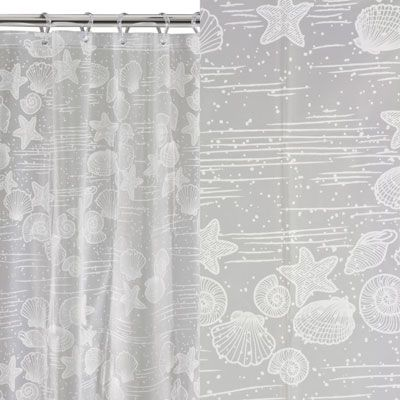 This simple shower curtain is minimalistic and attractive - perfect for a variety of bathrooms. Featuring chic white seaside mementos on a light grey surface, the cute shower curtain is machine washable, finished with rustproof eyelets and a weighted hem. 180 x 180cm. £7.99.