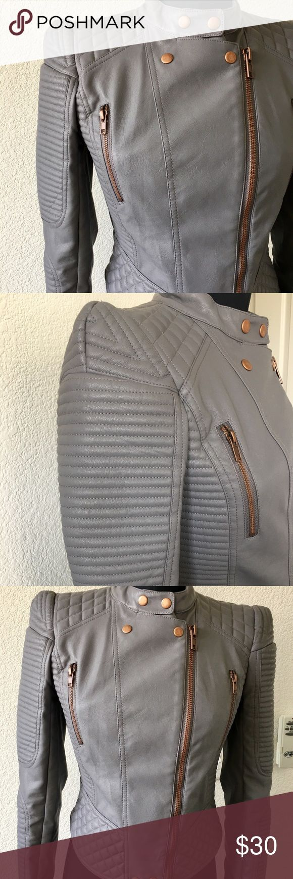 Asos Women's Faux Gray Leather Jacket w/ Rose Gold This jacket is perfect for the summer with fun rose gold metal accents and great puff shoulder.  I am selling my Asos motorcycle jacket sadly because I barely wore it (2-3 times) and want to see it go to a good home.   Thank you! Asos Jackets & Coats Blazers