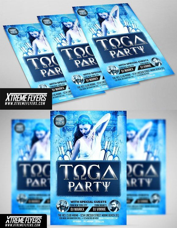 Toga Party Flyer Template Party Flyer Toga Party Flyer Template