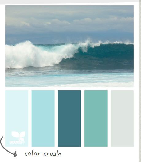 Beach Colors... Second from left is our house colour. Thinking one of the next two would work in the main floor bath??