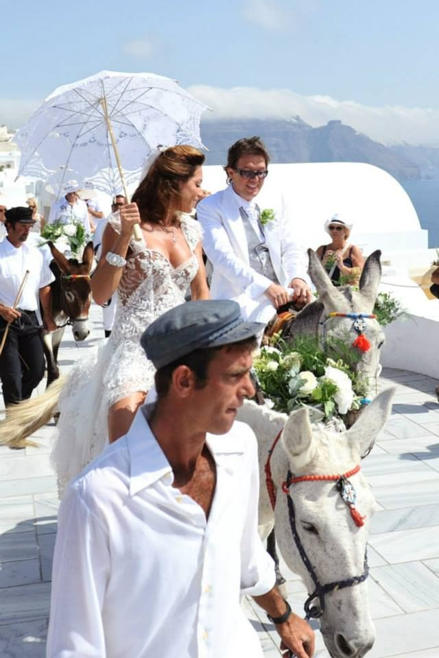 On our way to the Ceremony — at Santorini, Greece.