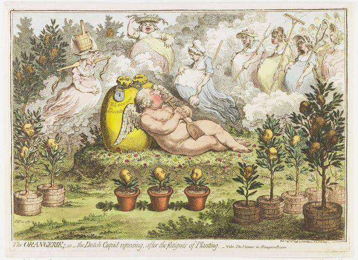 De Orangerie: De Hollandse Cupido, uitrustend van de vermoeienissen van het planten, 1796, James Gillray, 1796
