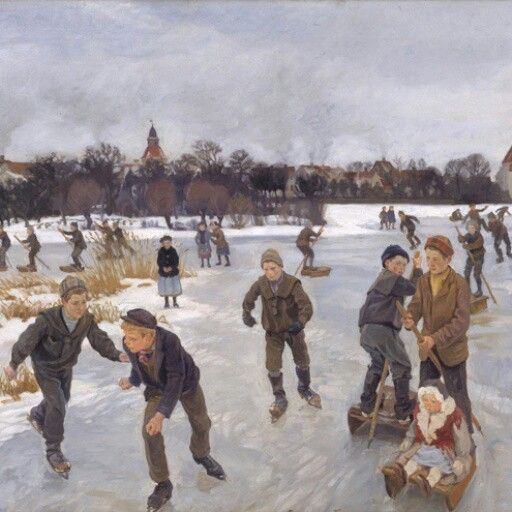 Peter Hansen: På isen bag byen (Faaborg), 1901