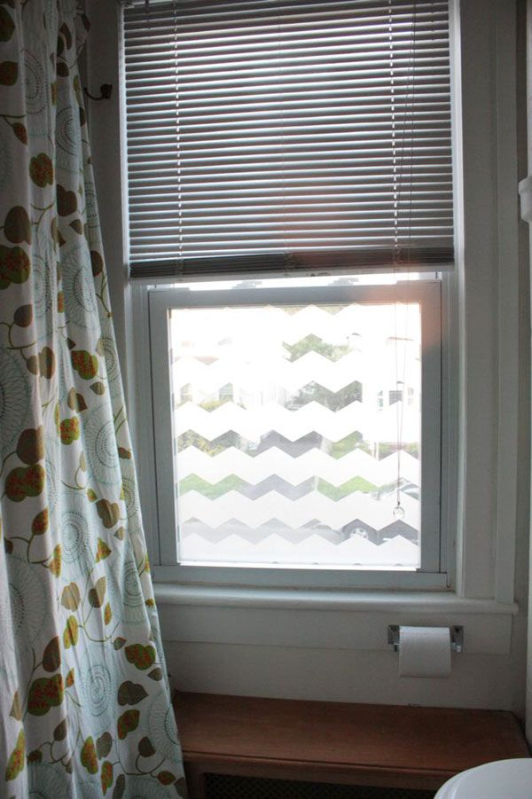 chevron frosted bathroom window this project uses frosted window film to create a chevron. Black Bedroom Furniture Sets. Home Design Ideas