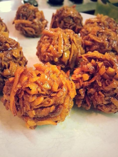 CARAMEL COCONUT BALLS....made with fresh coconut...popular in both Ghana and Nigeria