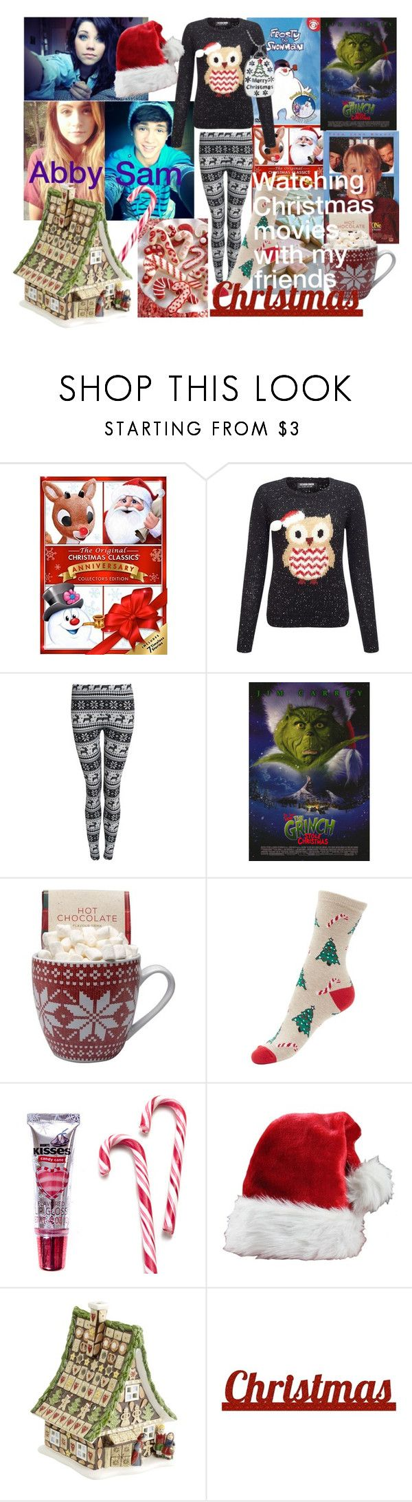 """""""Watching Christmas Movies Sam/Abby"""" by softballnumber4 ❤ liked on Polyvore featuring Lipsy, Pilot, Hershey's, Villeroy & Boch and Sixtrees"""