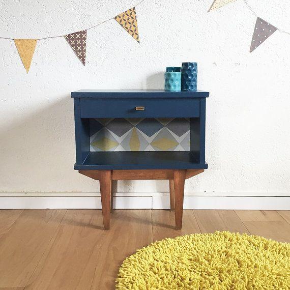 Mid century Bedside table, night table, mid century modern, vintage, color blue, model Clovis
