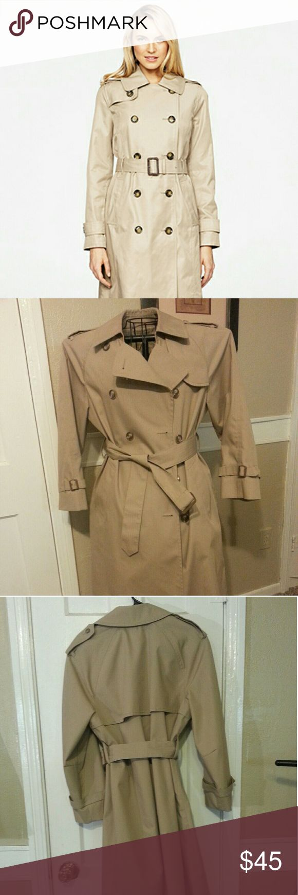 """London Fog trench coat Women's London Fog Double-breasted Trench Coat. The long length of this trench coat makes it a chic way to start the season! Notch collar; double-breasted button closure at front. Long sleeves. Self belt at waist. Slit pockets at hips. Mid-weight. Lined. Hits below knee; approx. 44"""" long. London Fog Jackets & Coats Trench Coats"""