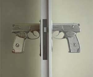 Add some firepower to your door knobs with these hand gun styled door openers. These hand guns aren't just for looks either, pulling the trigger on these life like guns achieves the same effect as turning the handle on a conventional style door knob.
