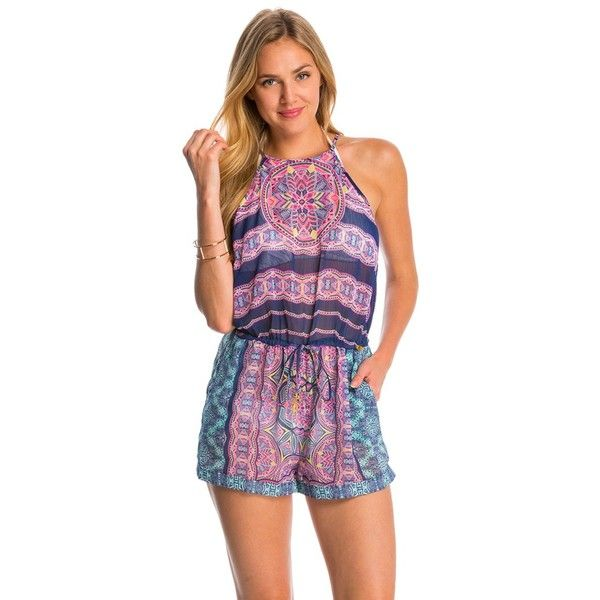 Jessica Simpson Swimwear Mojave High Neck Cover Up Romper ($63) ❤ liked on Polyvore featuring swimwear, cover-ups, marine, beach wear, cover up swimwear, swim cover up, sash belt and one piece swim wear
