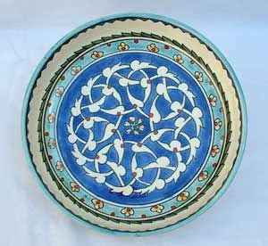Cobalt blue arabesque design hand painted bowl, diameter = 11 inches, height = 1.9 inches