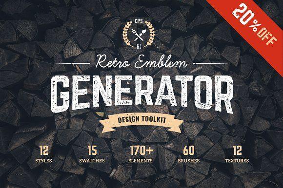 Logo Maker | Retro Emblem Generator by Vecster on @creativemarket