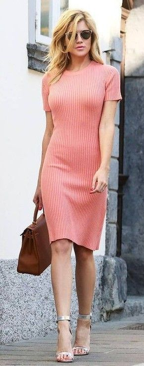 Light coral sweater dress + silver heels.