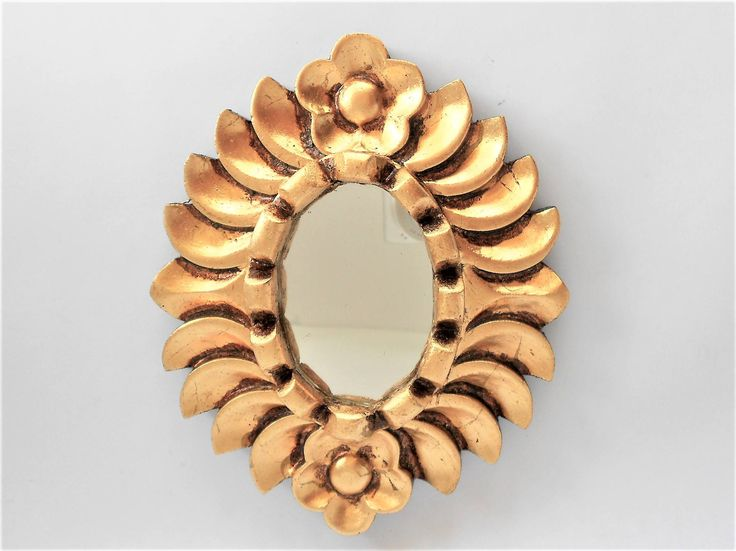 "6.5"" H, Oval Wall Mirror, Small Wall Mirror, Gold Leaf  Mirror, Oval Mirror, Gold Framed Mirror, Ornate Frame Mirror, Item GLOM 1009 by GoldLeafGirl on Etsy"