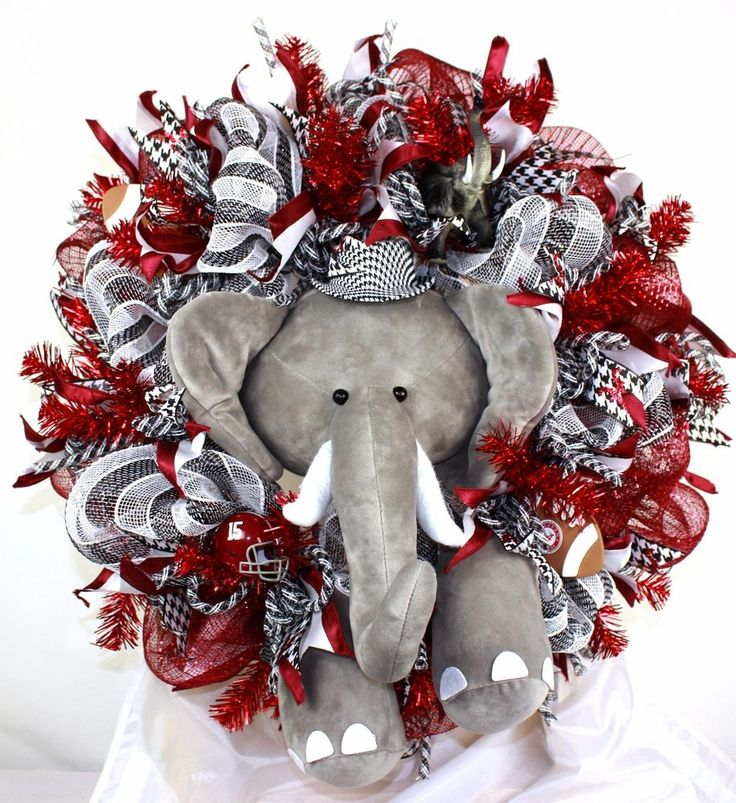 Alabama Crimson Tide Fan Deco Mesh Door Wreath #Crazyboutdeco