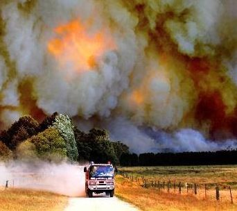 Australian bush fires  CFA truck doing what they do best. Protecting us