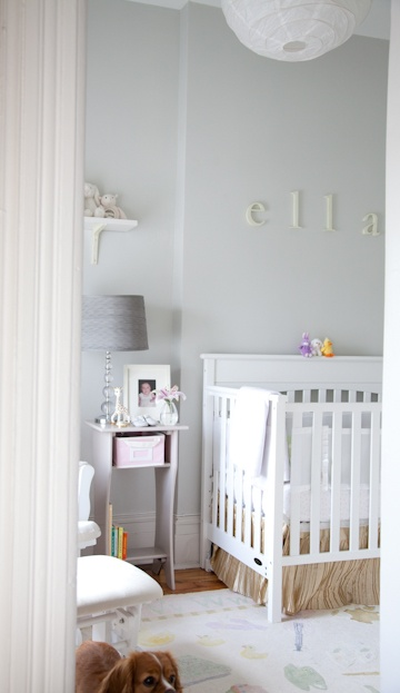 We repainted our future nursery almost this exact color. Gray with a hint of blue. It's such a calming feeling! Now to finish off the room!