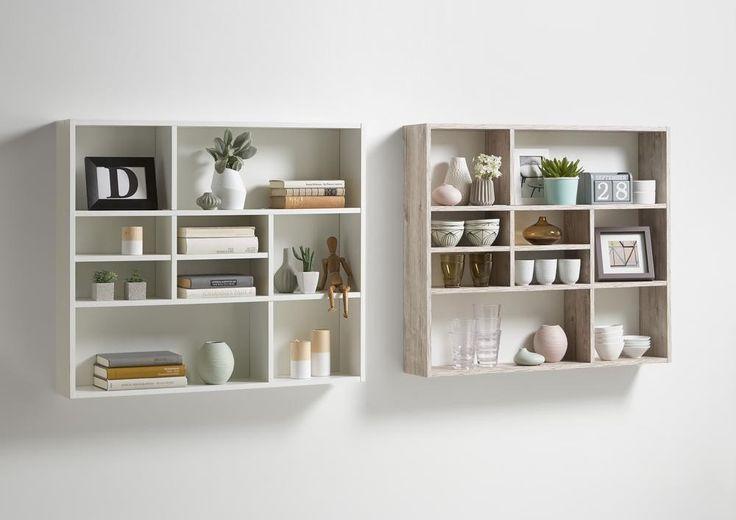 Acheter l'étagère murale Mika en ligne ? ✓ Étagère tendance à 9 niches, en imitation chêne gris ✓ Livraison rapide ✓ Haute qualité ✓ Prix bas