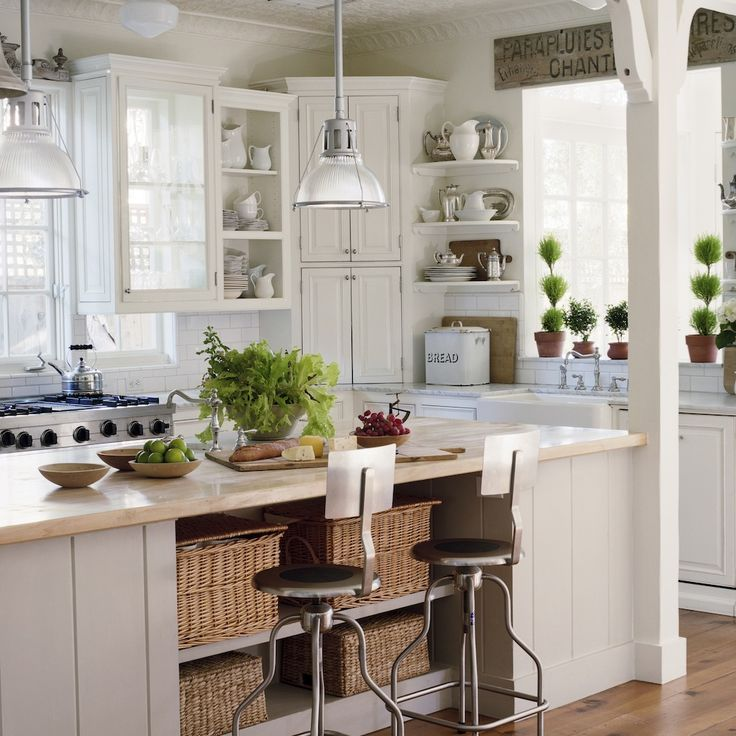 We Love This Double Island Kitchen Huge Open Kitchen: Cottage Kitchen, Antique Sign, Marble, Subway Tile, Large Island With Baskets...love The