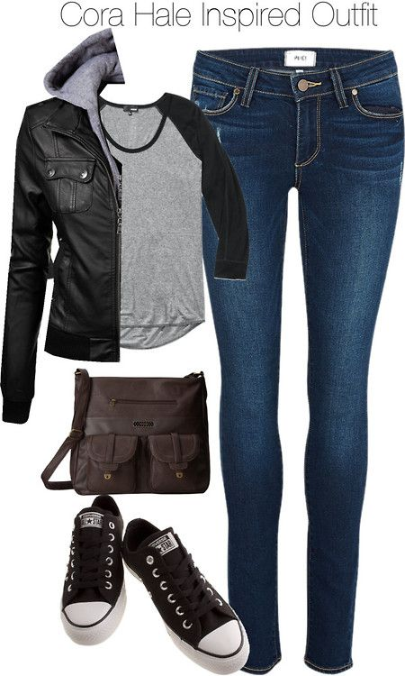 Teen Wolf - Cora Hale Inspired Outfit with dark jeans by staystronng featuring canvas shoesZip up jacket / Paige Denim faded skinny jeans, $350 / Converse canvas shoes, $78 / Volcom brown handbag