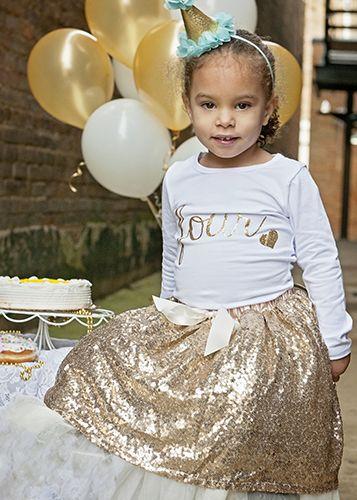 Tea Length  Gold Sequin Tutu Skirt for Girls