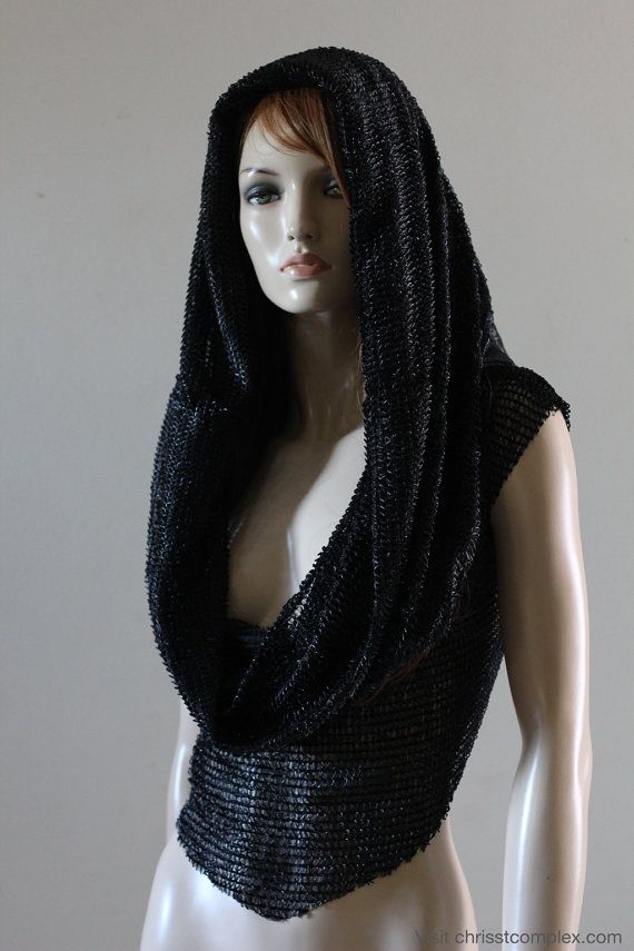 Gothic Goth Medieval l Hoodie Hood Scarf Hat T-shirt Black Mesh Knight Cosplay Top - Chrisst Unique Fashion SPECIAL ETSY PRICE