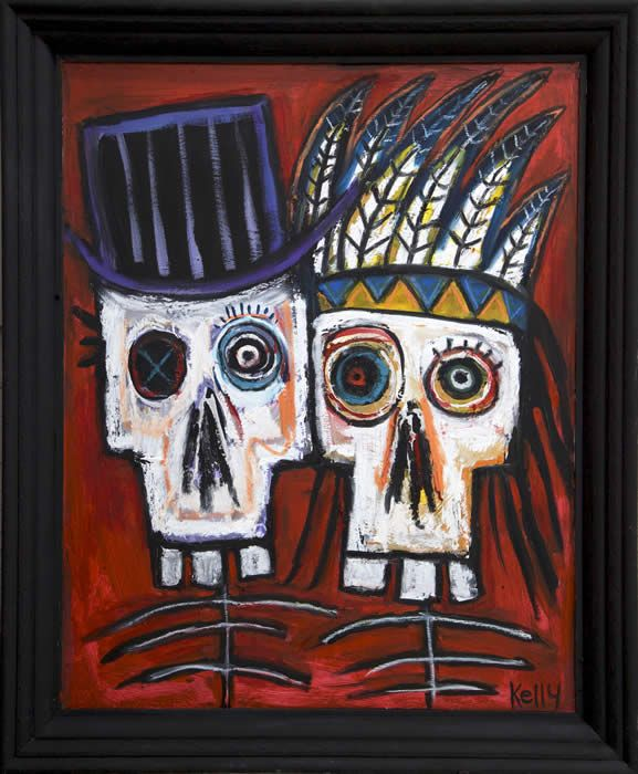 """Dead Cowboy & INdian"" by self taught artist Kelly Moore of Santa fe New Mexico…#selftaughtartist #folkart #outsider # artbrut"