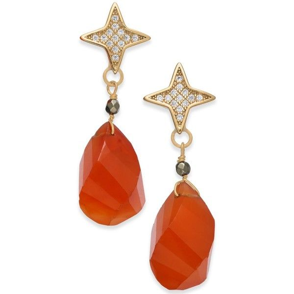 Paul & Pitu Naturally Two-Tone Pave Star & Orange Stone Drop Earrings (2.910 RUB) ❤ liked on Polyvore featuring jewelry, earrings, brass, stone stud earrings, orange earrings, stone earrings, stud earrings and orange jewelry