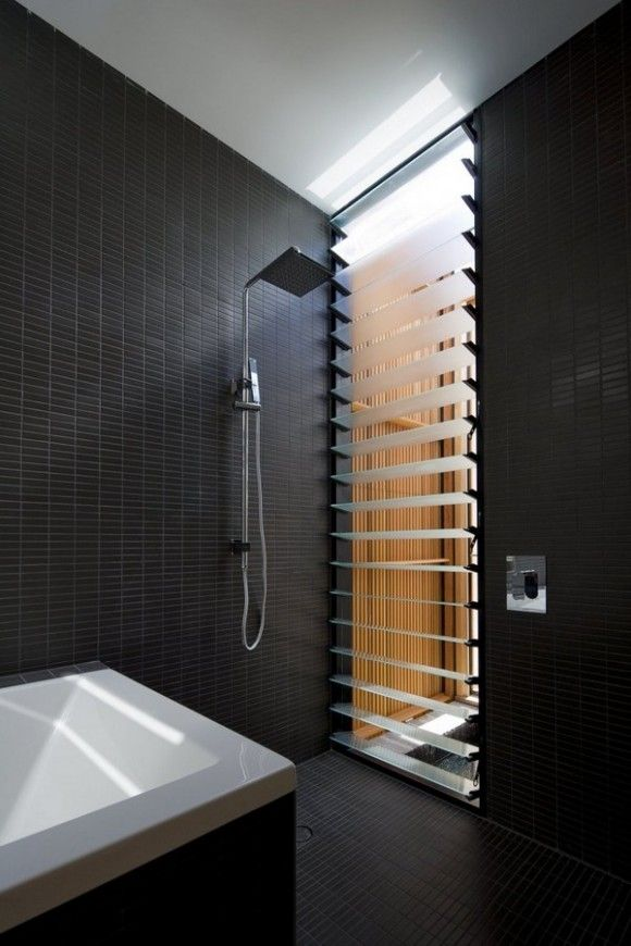 small rectangular black tiles for the bathroom