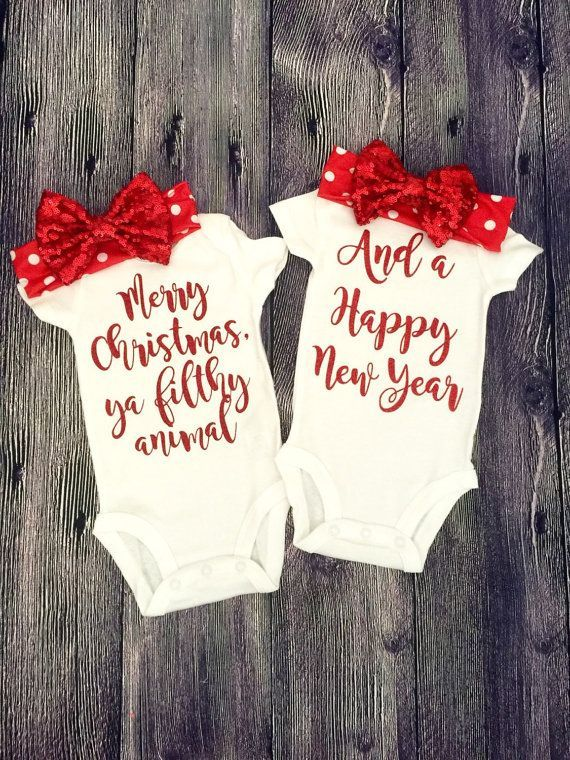 Twin Christmas Outfits for Baby Girls Home by HappyTuesdaySigns
