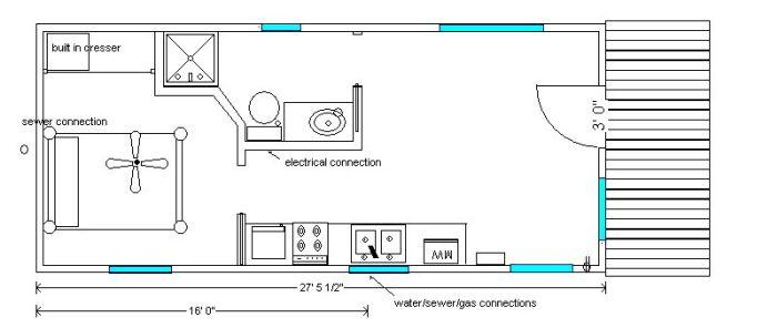 14x40 Cabin Floor Plans Tiny House Tiny House Plans