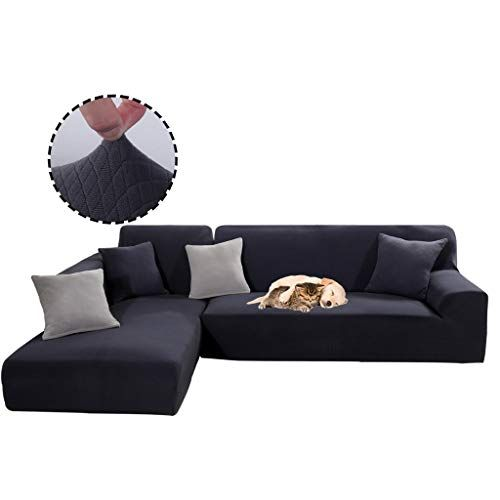 Obokidly Anti Leakage Jacquard Sectional Corner L Shaped Sofa Covers Anti Wrinkle Chaise 3 Cushion Couch Leather Sofa Silpcovers Living Room Dustproo Sofa Covers
