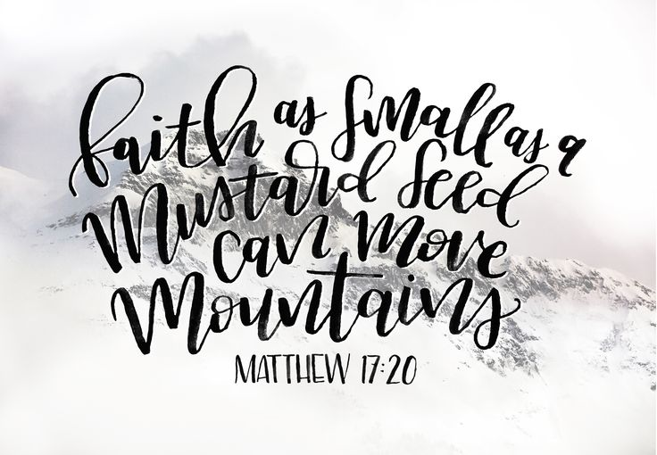 Faith as small as a mustard seed can move mountains. Matthew 17:20 bible verse printable on etsy. Calligraphy handlettering art print