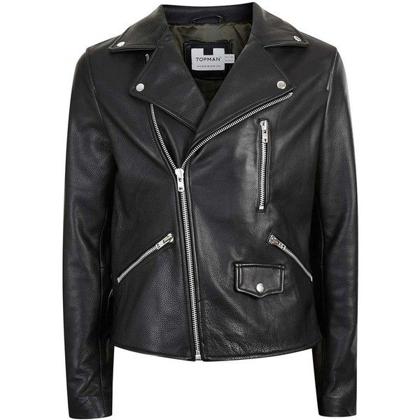 TOPMAN Black Leather Biker Jacket (10,995 PHP) ❤ liked on Polyvore featuring men's fashion, men's clothing, men's outerwear, men's jackets, jackets, menswear, outerwear, black, mens leather motorcycle jacket and mens leather jackets