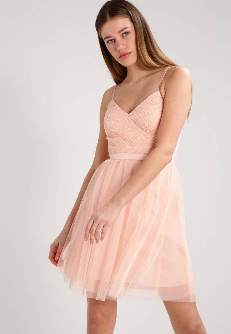 """Cocktail dress / Party dress - soft pink. Lining:100% polyester. Outer fabric material:100% polyester. Fastening:zip. Total length:10.0 """" (Size 10). Details:padded bust,slip. Length:short. Fit:tailored. Neckline:Low V-neck. Washing instruc..."""