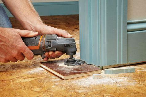 When installing a new laminate floor, or tiling over an existing surface, it is often necessary to trim the base of the doorjambs. Instead of using a handsaw, make the cuts using an oscillating tool with a segment blade. Position an offcut of flooring under the blade to use as a guide that will instantly align the blade at the precise height required. | Handyman Magazine |