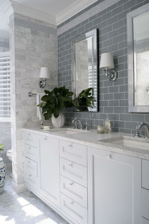 Traditional Master Bathroom with Master bathroom, Subway Tile, Interior plantation shutters, Double sink, Flush, Wall sconce