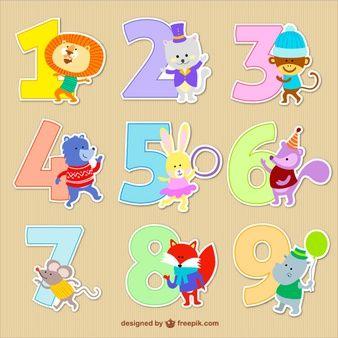 Números com desenhos animados animais