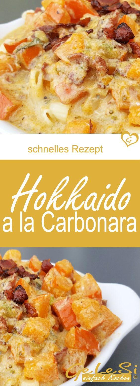 schnelles und einfaches Nudel Rezept, Pasta mit Hokkaido alla Carbonara