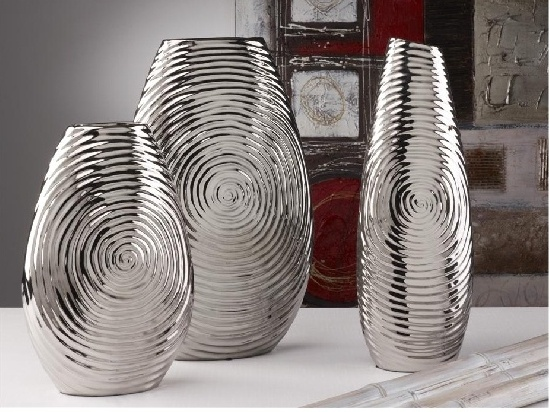 jarrones en plata brillo
