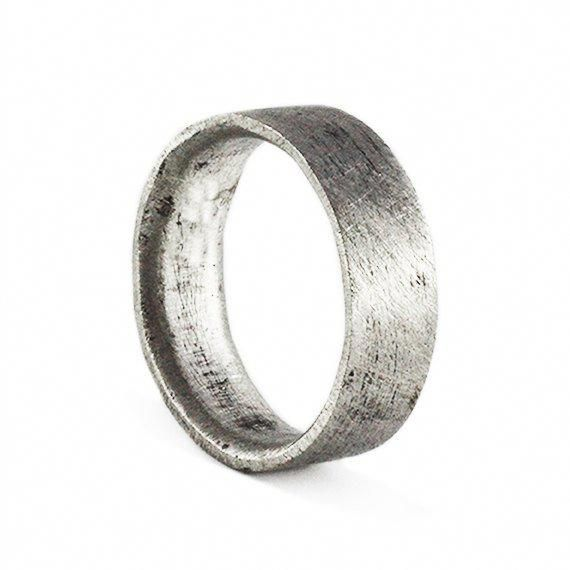 In Stock Mens Wedding Band Brushed Silver Personalized Man Ring