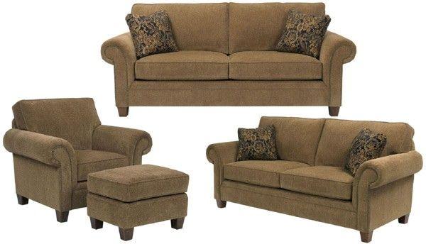 Broyhill Furniture - Travis Walnut Chenille Fabric 4 Piece Living Room Set - BRO-7004-7Q-8994-78-4SET