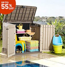From affordable above-ground pools to inflatable toys and storage solutions, this array of aquatic finds includes everything you need to jump-start summer. Playful floats, slides, and water volleyball nets encourage daytime dips, while loungers and umbrellas let you luxuriate on land. Attractive utility sheds and boxes keep supplies stashed away when not in use.
