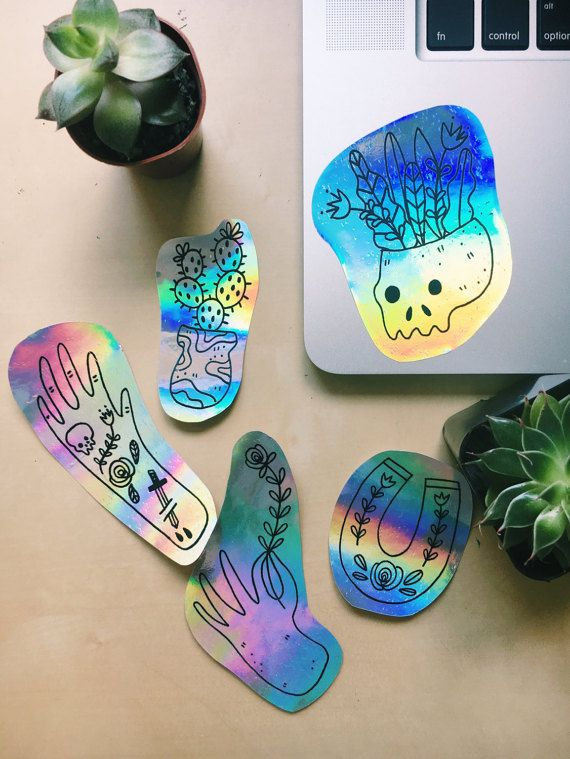 A set of 5 holographic stickers!  5 different designs on shiny fun holographic stickers  Illustrated by hand, scanned then printed on fun holographic sticker paper that is perfect to add some color to any surface!     Packaged with tag and sealed!  (:   Have a nice day