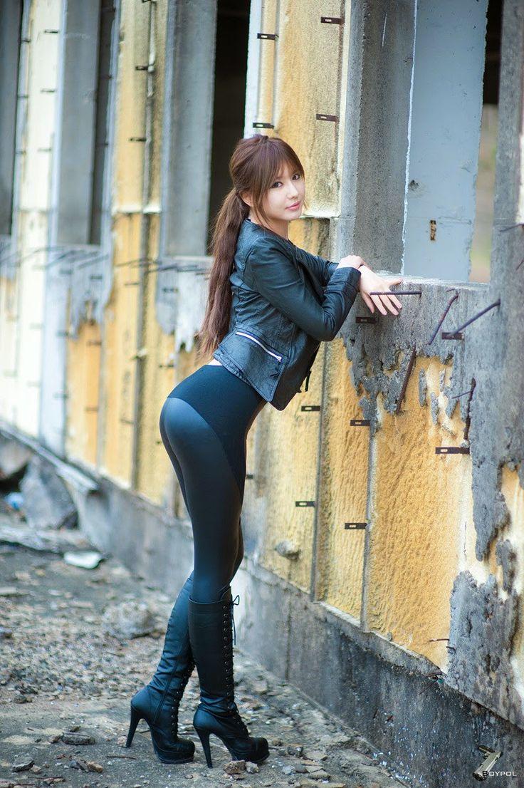 Ryu Ji Hye Sexy In Black Leather Korean Models Asian