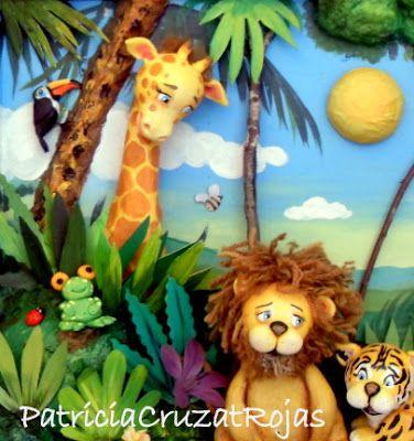 Patricia Cruzat Artesania y Color: Animales en la Selva, cuadro en relieve