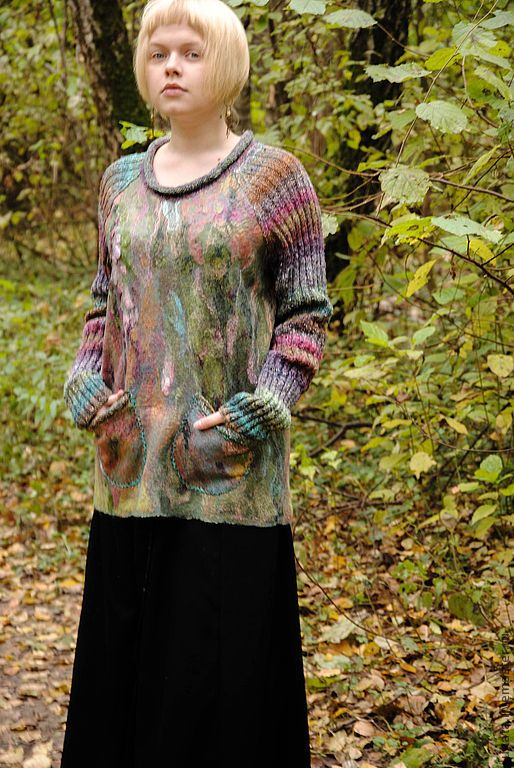 """Купить Войлочный свитер и снуд """"...когда в осеннем небе отражается вереск.."""" - зеленый"""