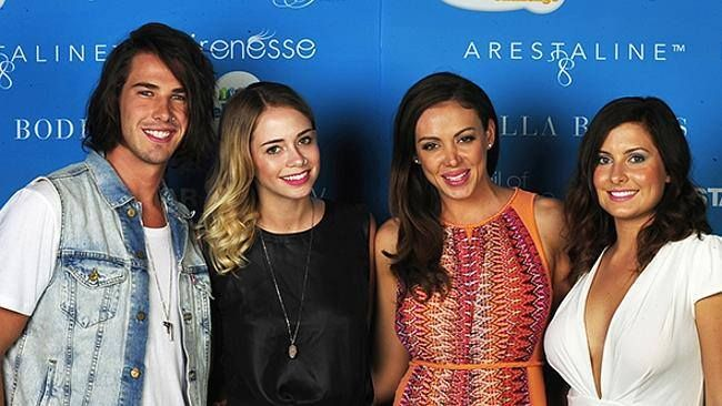 Rochelle Emmanuel Smith from The Bachelor Australia wearing the Gypsy Woman dress alongside Sarah from The Bachelor Aus with Big Brother contestants Drew and Tully