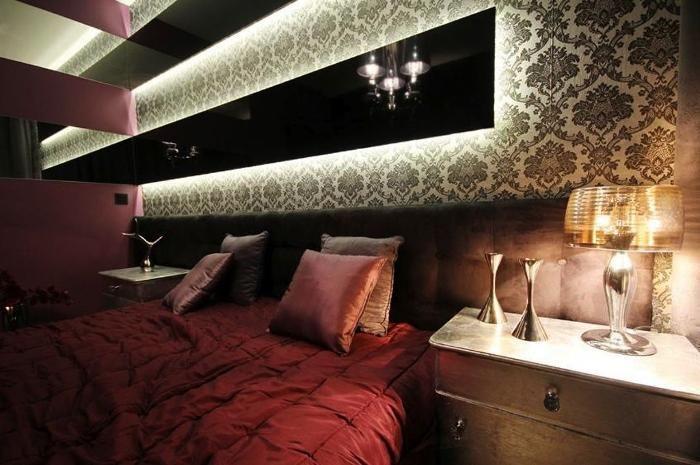 Aranżacja sypialni wystrój nowoczesny w kolorach czerń, fiolet, róż - projekt wnętrza #5721923, Homplex