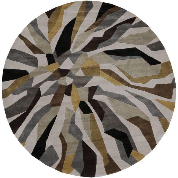 Hand Tufted Barnes Contemporary Abstract Round Rug (8u0027 Round) (Grey (8u0027  Round)), Beige, Size 8u0027